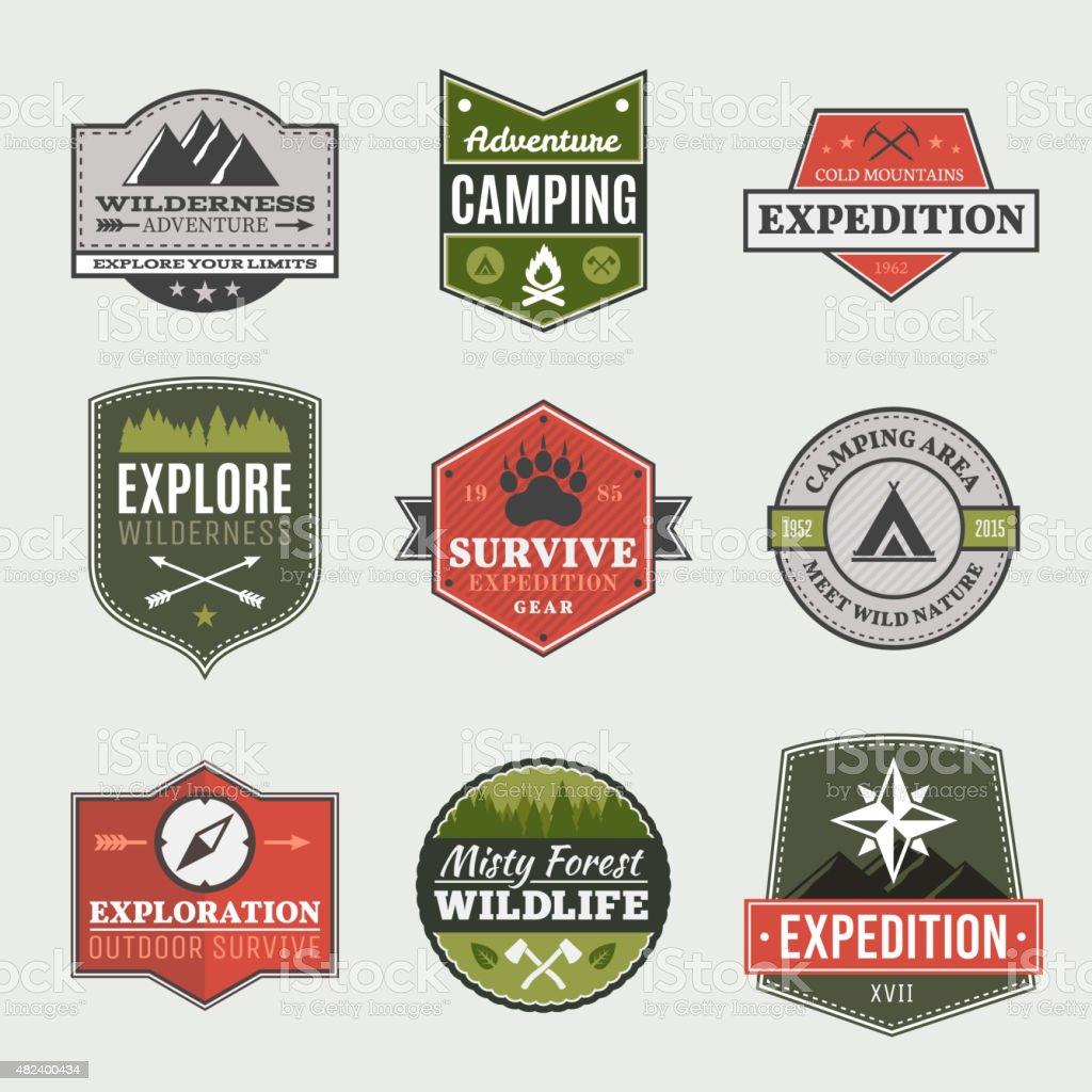 Retro Camp badges vector art illustration