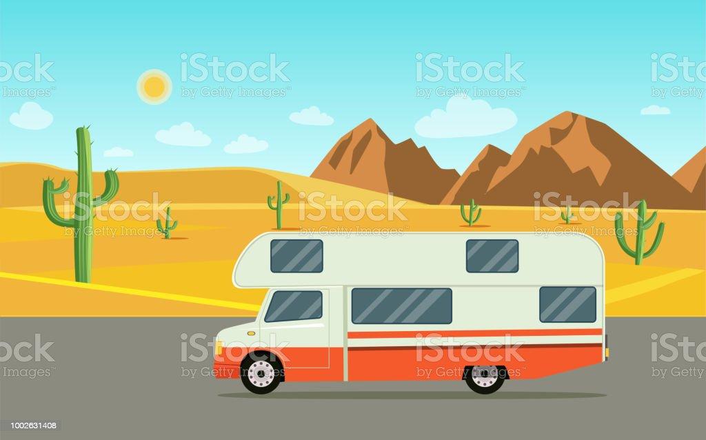 Ilustración de Coche Retro Camper Remolques Caravana Paisaje Del ...