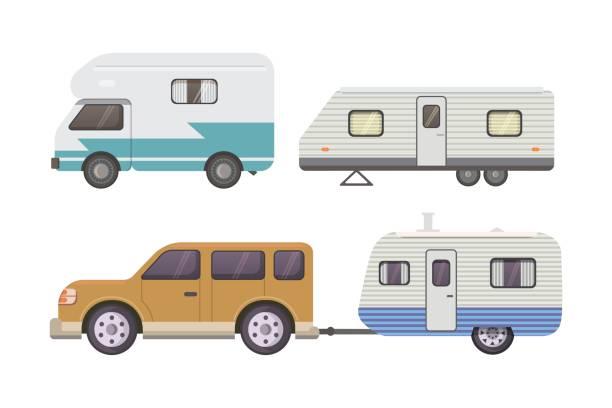 retro-wohnwagen-anhänger-kollektion. auto anhänger wohnwagen. tourismus. - wohnwagenanhänger stock-grafiken, -clipart, -cartoons und -symbole