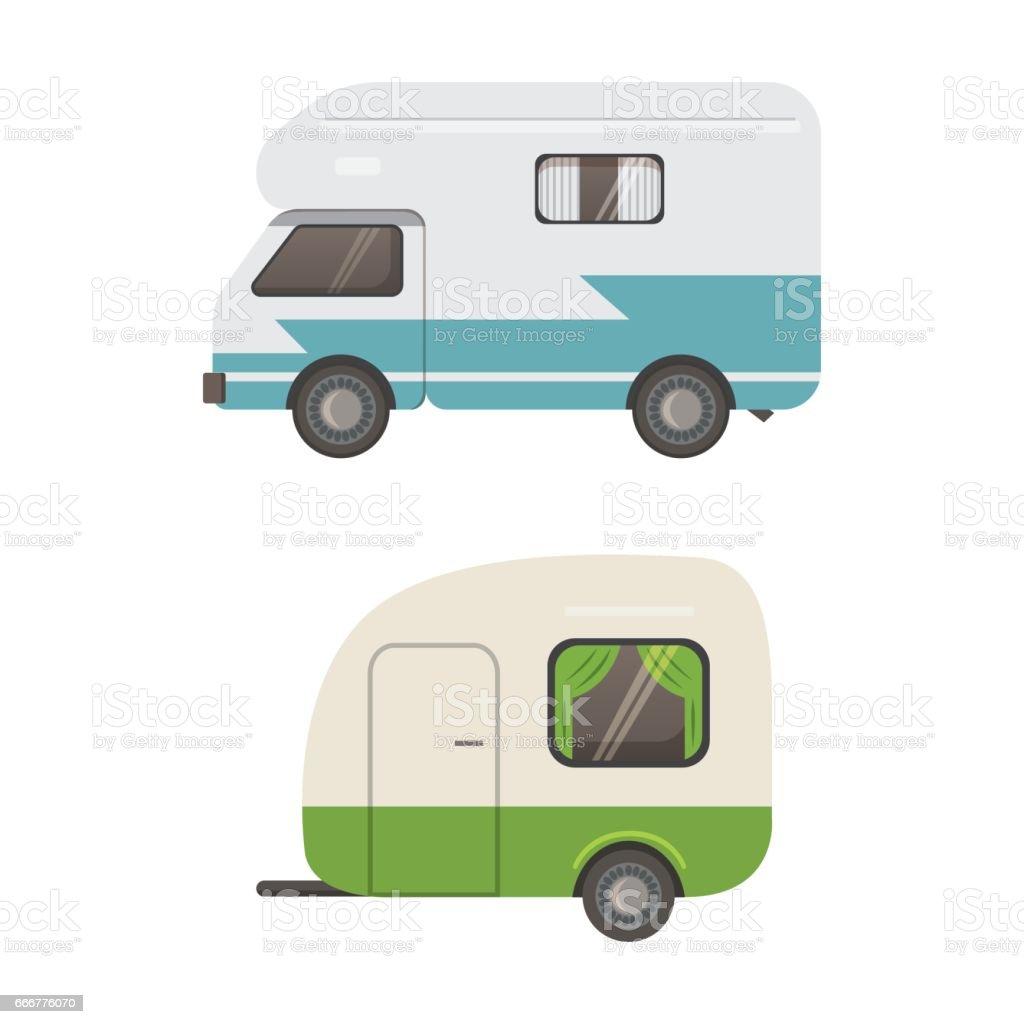 Retro camper trailer collection. car trailers caravan. tourism. vector art illustration