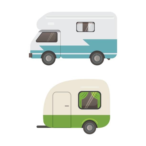 stockillustraties, clipart, cartoons en iconen met retro camper aanhangwagen collectie. auto aanhangwagens caravan. toerisme. - caravan