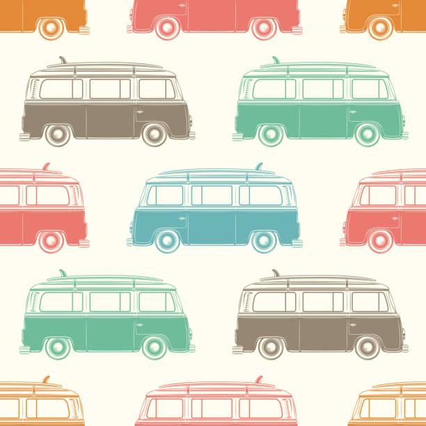 Retro camper van with surfing board. Seamless pattern Retro camper van with surfing board. Seamless pattern. Vector illustration. mini van stock illustrations