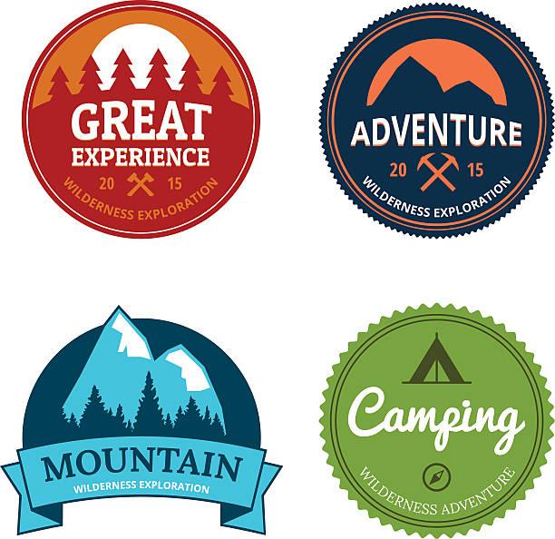 retro camping logos vector art illustration