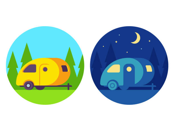 retro-wohnwagen - campinganhänger stock-grafiken, -clipart, -cartoons und -symbole