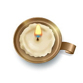 Top view on retro candlestick with burning candle. Vector illustration