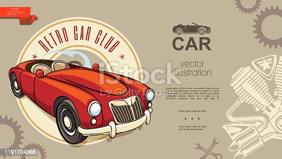 Retro car club background with classic red automobile engine piston gears wrenches silhouettes in vintage style vector illustration