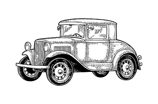 Retro car coupe. Side view. Vintage black engraving