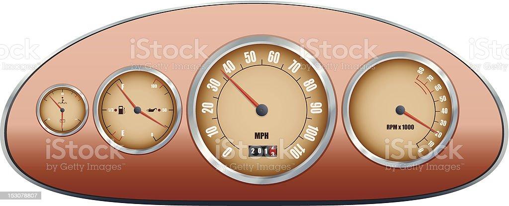 Retro car dashboard royalty-free stock vector art