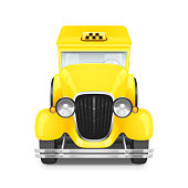 Yellow Taxi Retro Car Icon, Vector Illustration
