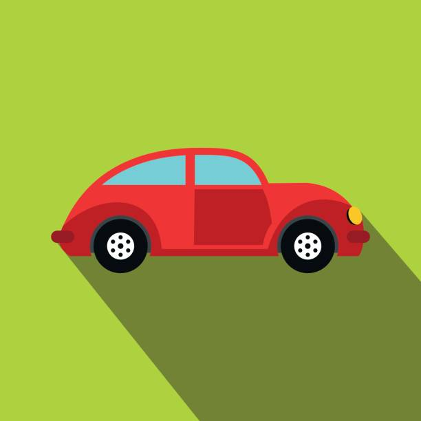 Retro car icon Retro car icon in flat style on a green background beetle stock illustrations