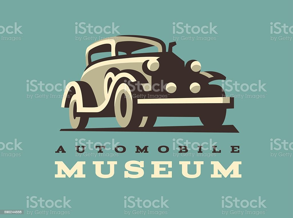 Retro car illustration, classic style vector art illustration