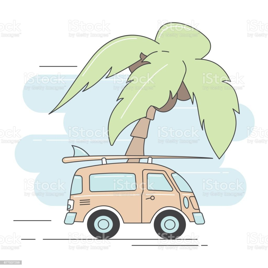 Retro car on summer background with palm trees. royalty-free retro car on summer background with palm trees stock vector art & more images of adventure
