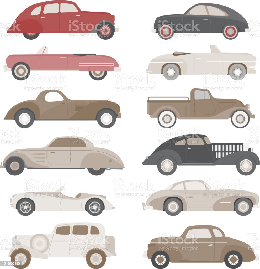 Retro car vector set. vector art illustration