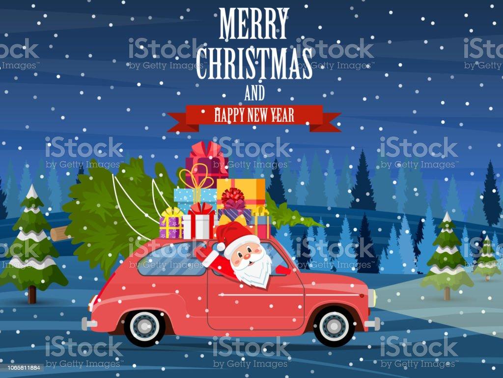 Auto Weihnachtsbaum.Retroauto Mit Weihnachtsbaum Stock Vektor Art Und Mehr Bilder Von