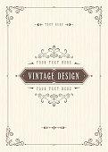 Ornate vintage card design with ornamental flourishes frame.