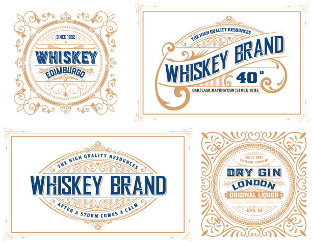 retro card. set of 4 templates. vetor layered - kieliszek stock illustrations