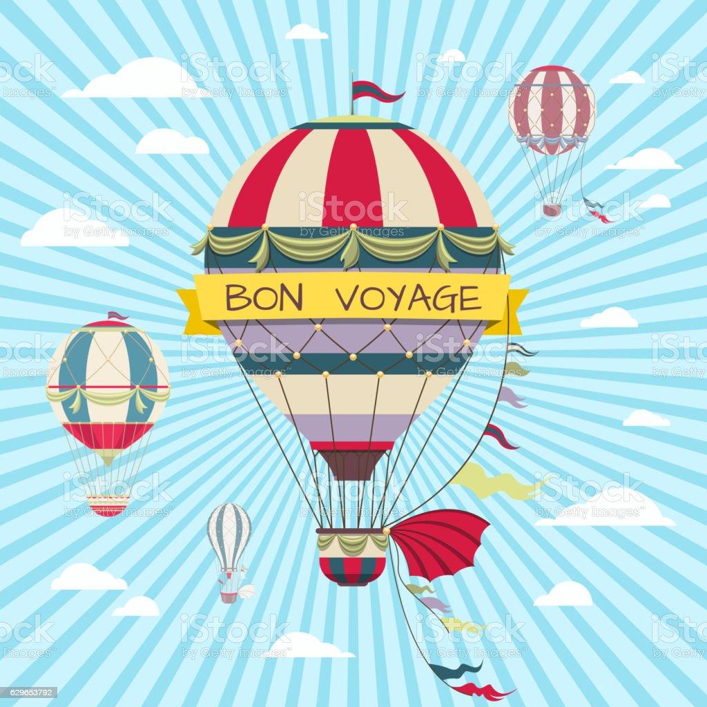 Retro card with hot air balloon. Vintage bon voyage poster - Illustration vectorielle