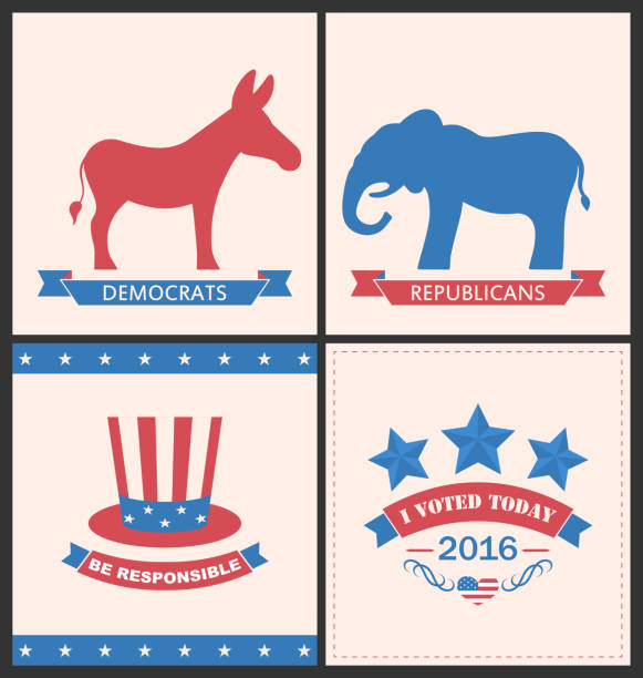 ilustrações de stock, clip art, desenhos animados e ícones de retro cards for advertise of united states political parties - míssil terra ar