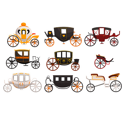 Retro carriages set, vintage transport, brougham, cab, wagon for traveling, wedding carriage vector Illustrations on a white background