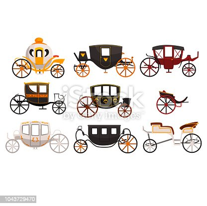 Retro carriages set, vintage transport, brougham, cab, wagon for traveling, wedding carriage vector Illustrations isolated on a white background.