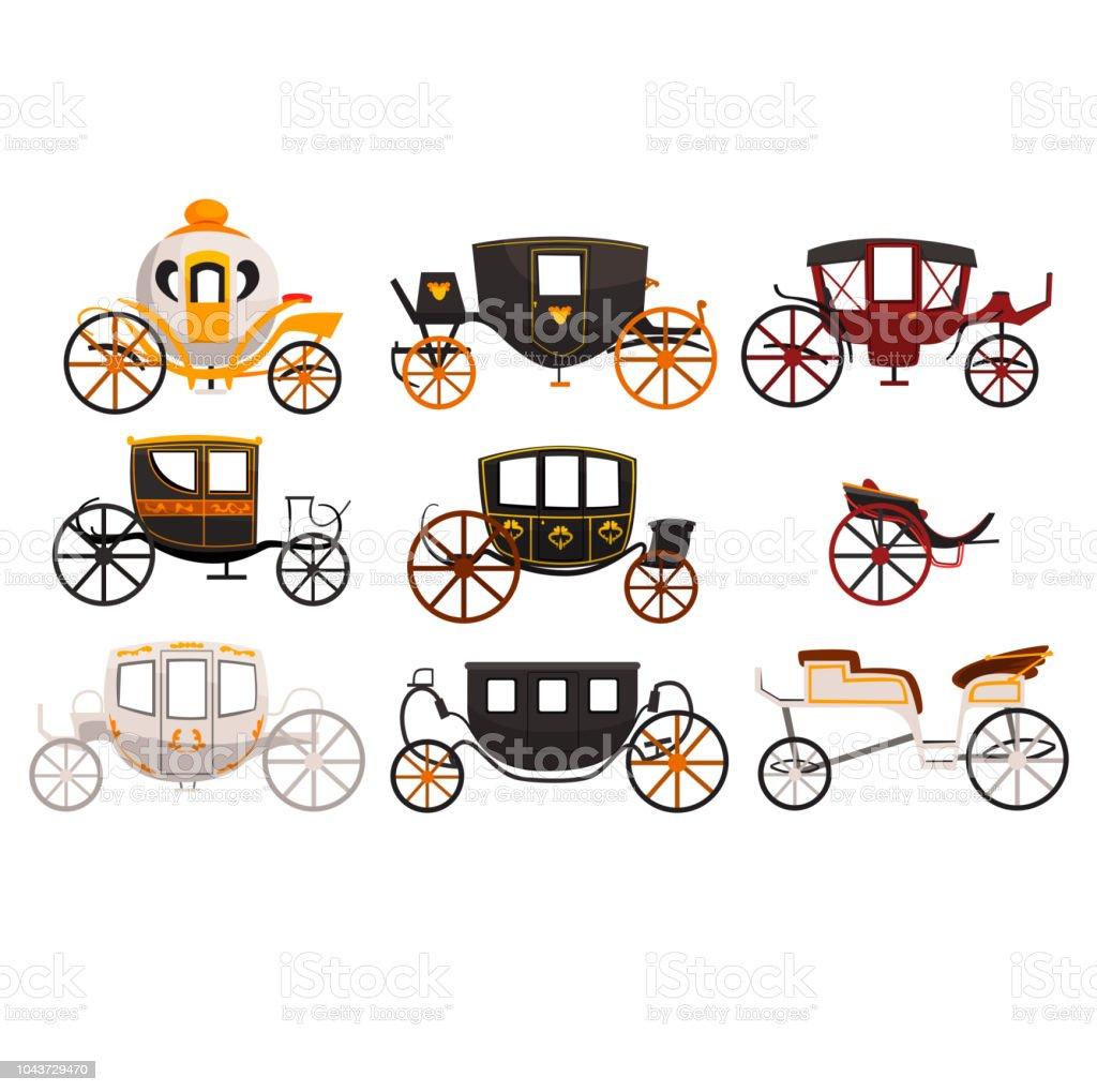Retro-Wagen set, Oldtimer Transport, Brougham, Taxi, Wagen für unterwegs, Hochzeit Kutsche Vektor Illustrationen auf weißem Hintergrund – Vektorgrafik