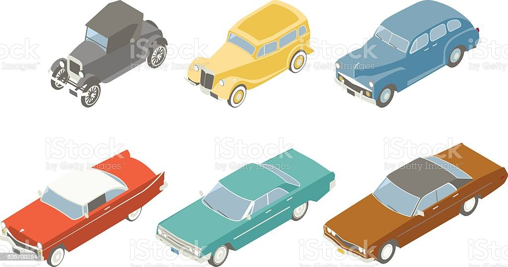 Retro Cars Isometric Illustration royalty-free retro cars isometric illustration stock vector art & more images of 1920-1929