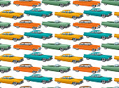 Retro car in 50s style. Seamless pattern
