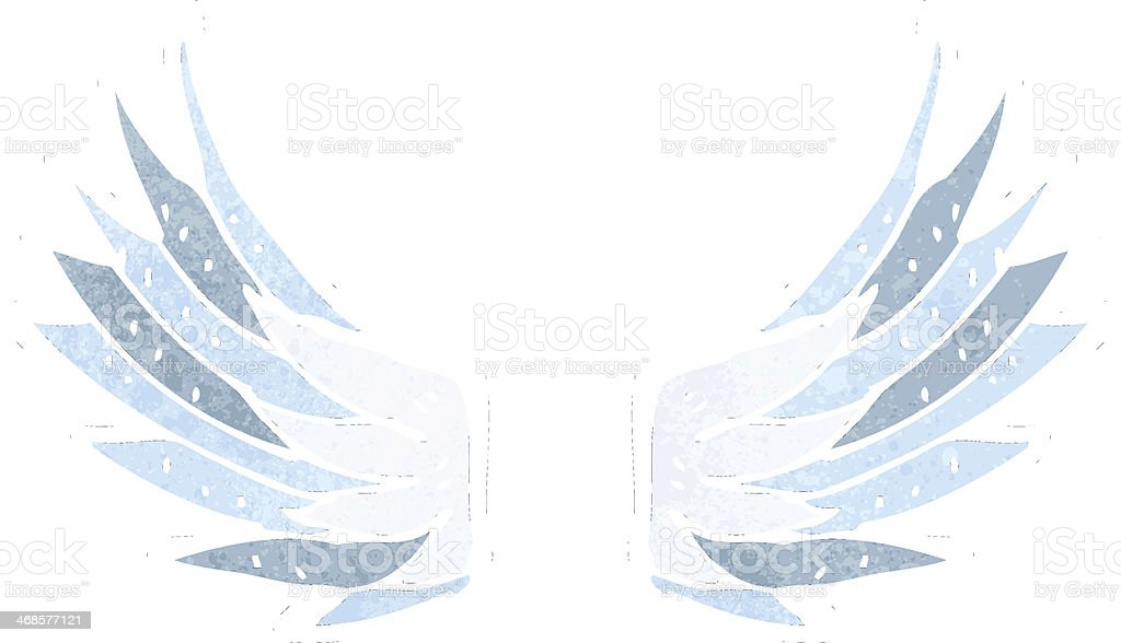 レトロカットイラスト天使の羽 いたずら書きのベクターアート素材や