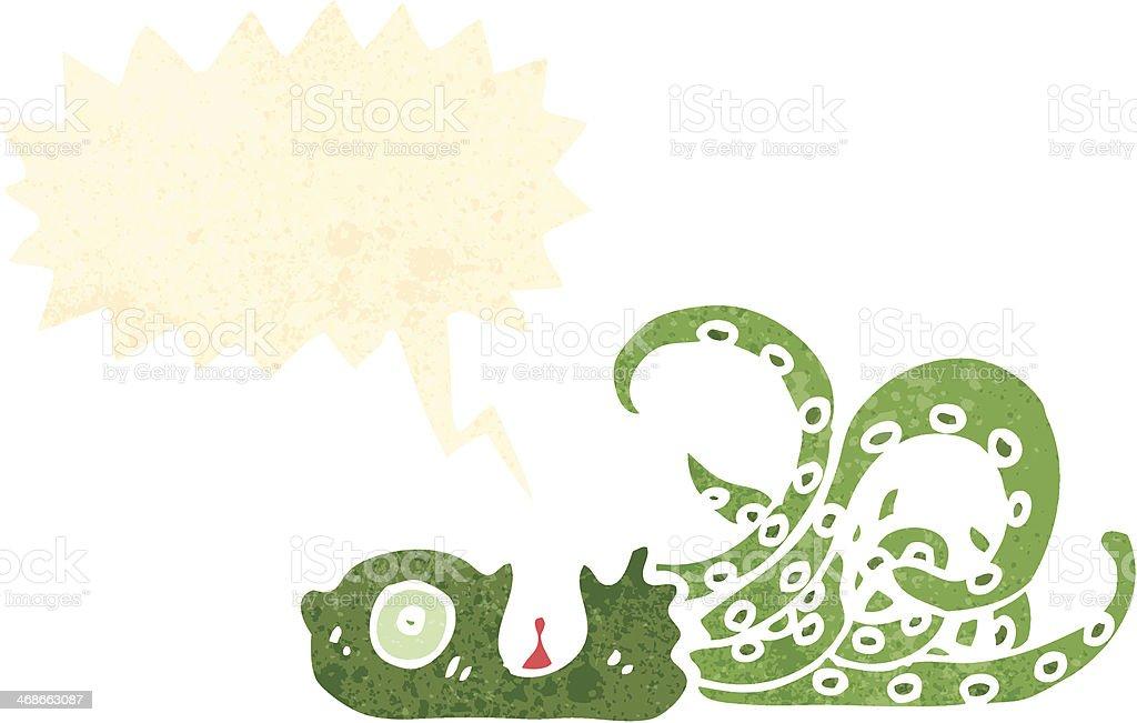 retro cartoon beached giant squid vector art illustration