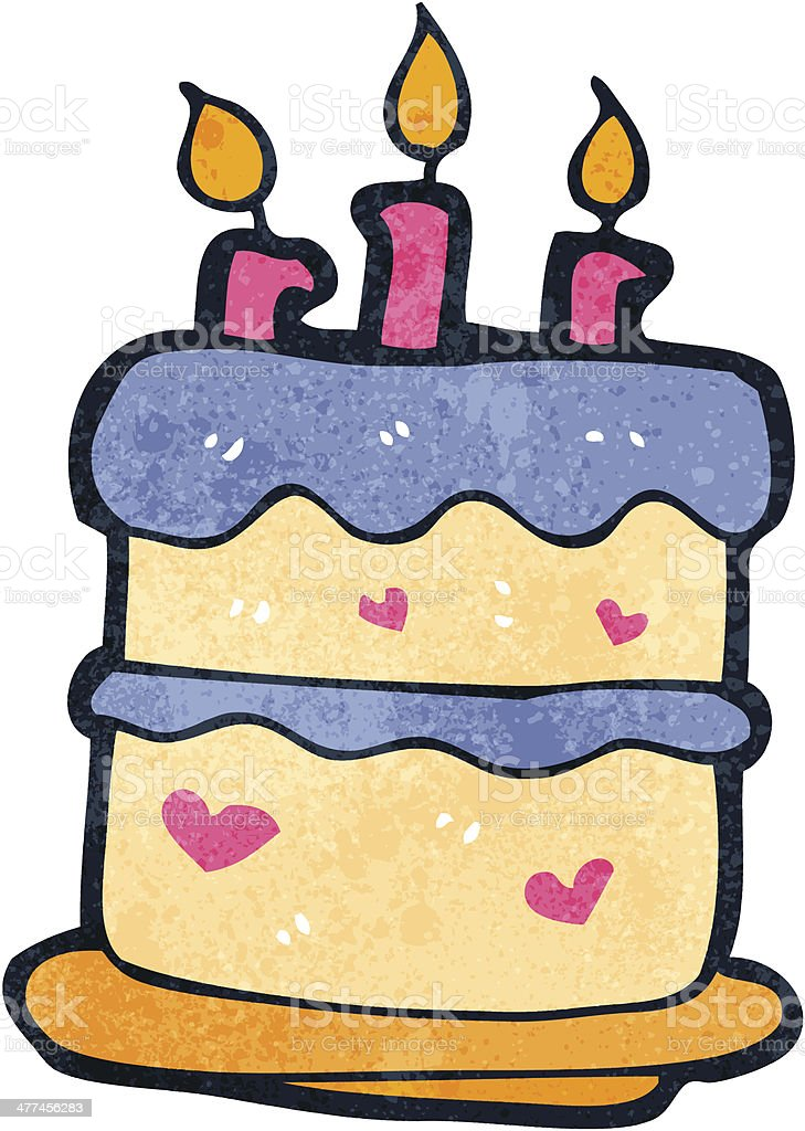 Retro Cartoon Birthday Cake Stock Vector Art More Images Of