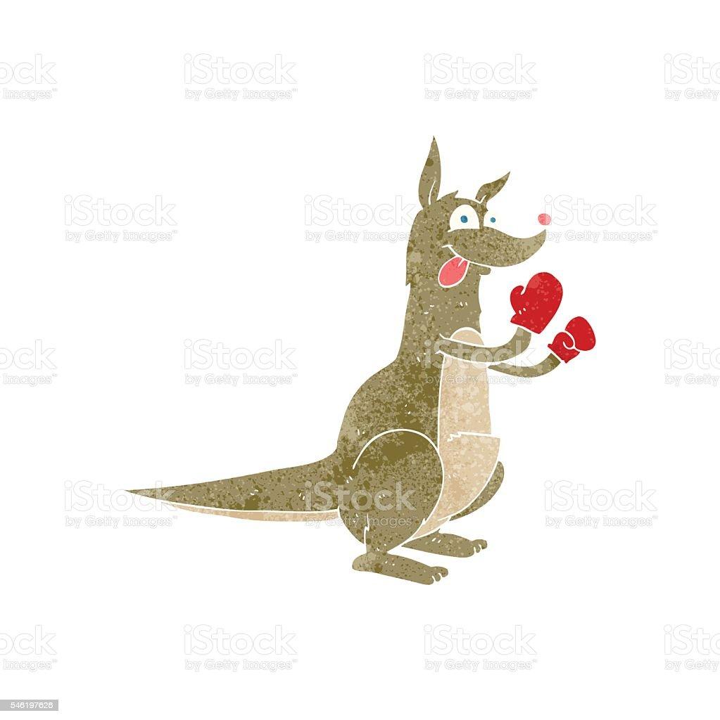 retro cartoon boxing kangaroo vector art illustration