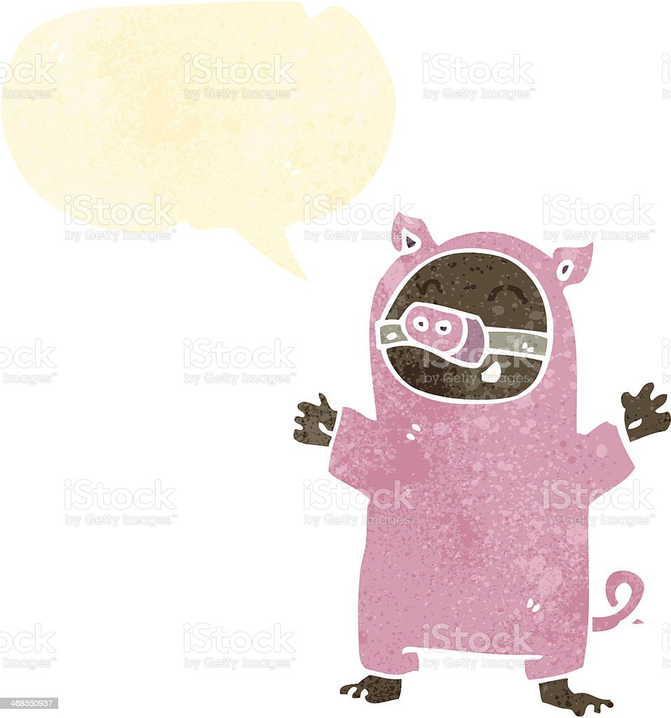 retro cartoon boy in pig costume royalty-free retro cartoon boy in pig costume stock vector art & more images of bizarre