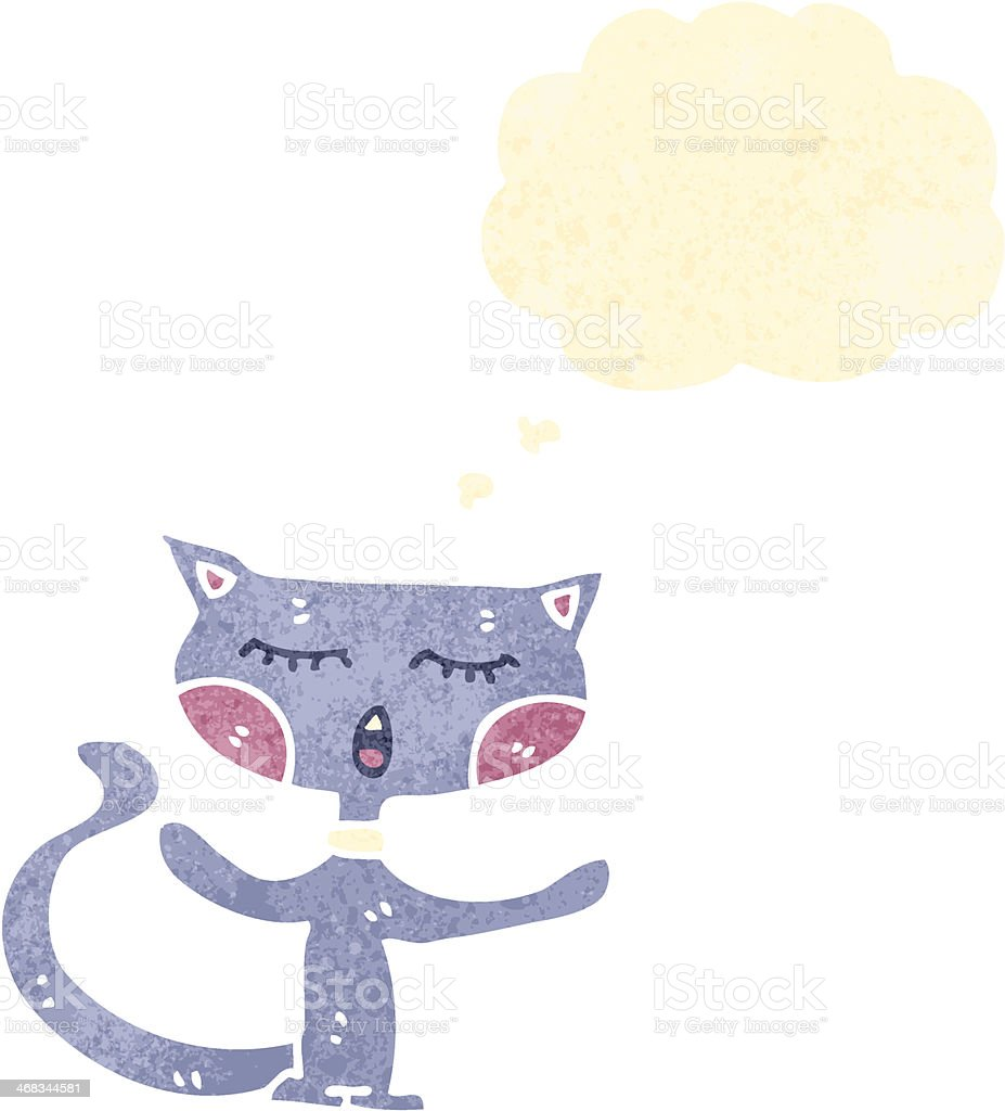 retro cartoon cat with thought bubble royalty-free retro cartoon cat with thought bubble stock vector art & more images of animal