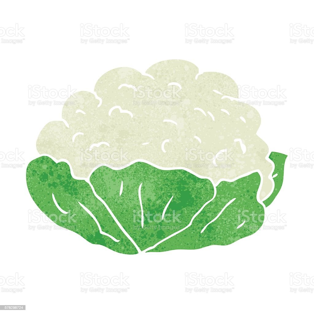 retro cartoon cauliflower vector art illustration