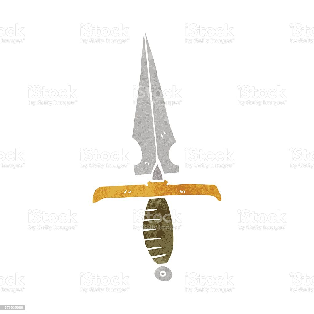 retro cartoon dagger vector art illustration