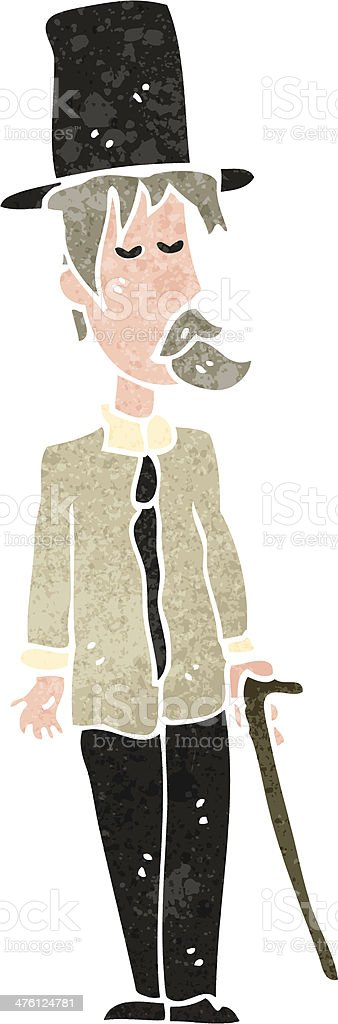 retro cartoon down and out upperclass man vector art illustration