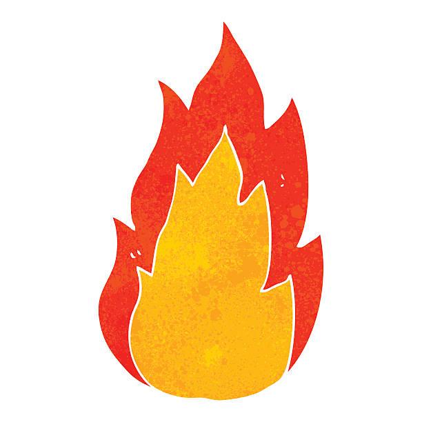 retro cartoon fire vector art illustration