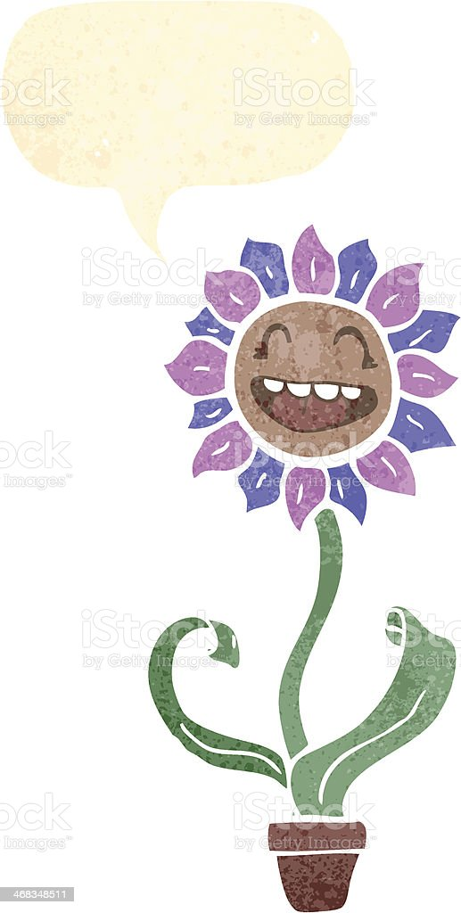 retro cartoon flower with speech bubble royalty-free retro cartoon flower with speech bubble stock vector art & more images of bizarre