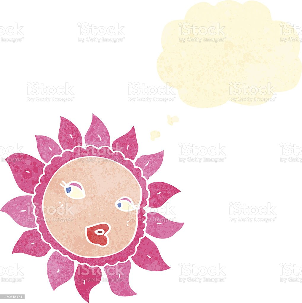 Retro Cartoon Flower With Thought Bubble Stock Vector Art More