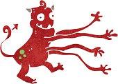 retro cartoon funny monster