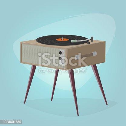 istock retro cartoon illustration of a record player 1225091339