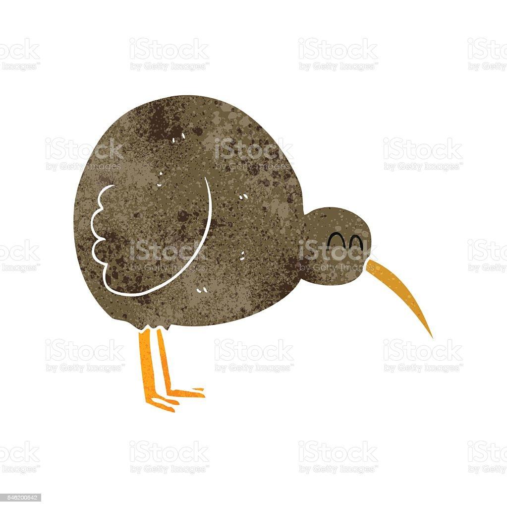 retro cartoon kiwi bird vector art illustration