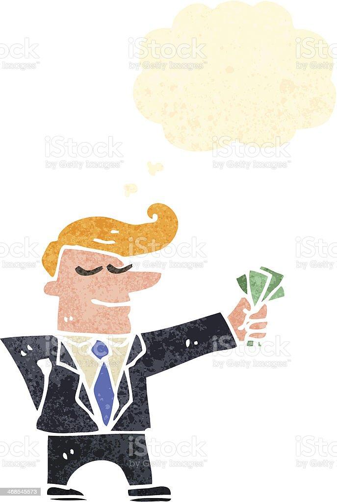 Gut Retrô Homem Dos Desenhos Animados De Terno Com Dinheiro Ilustração De Retrô  Homem Dos Desenhos Animados