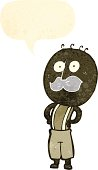 retro cartoon man with mustache and speech bubble