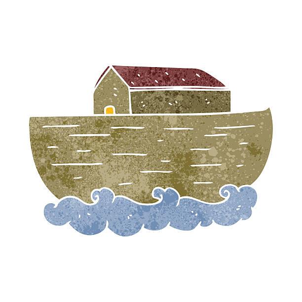 retro cartoon noah's ark vector art illustration