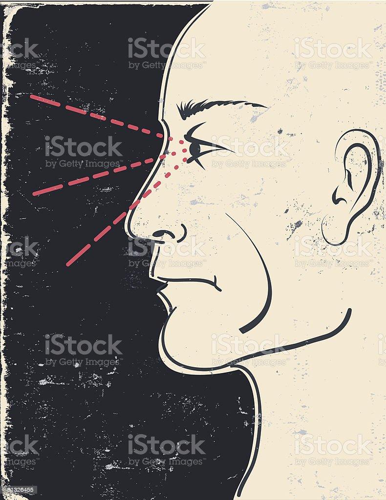 Retro cartoon of a man watching. royalty-free stock vector art