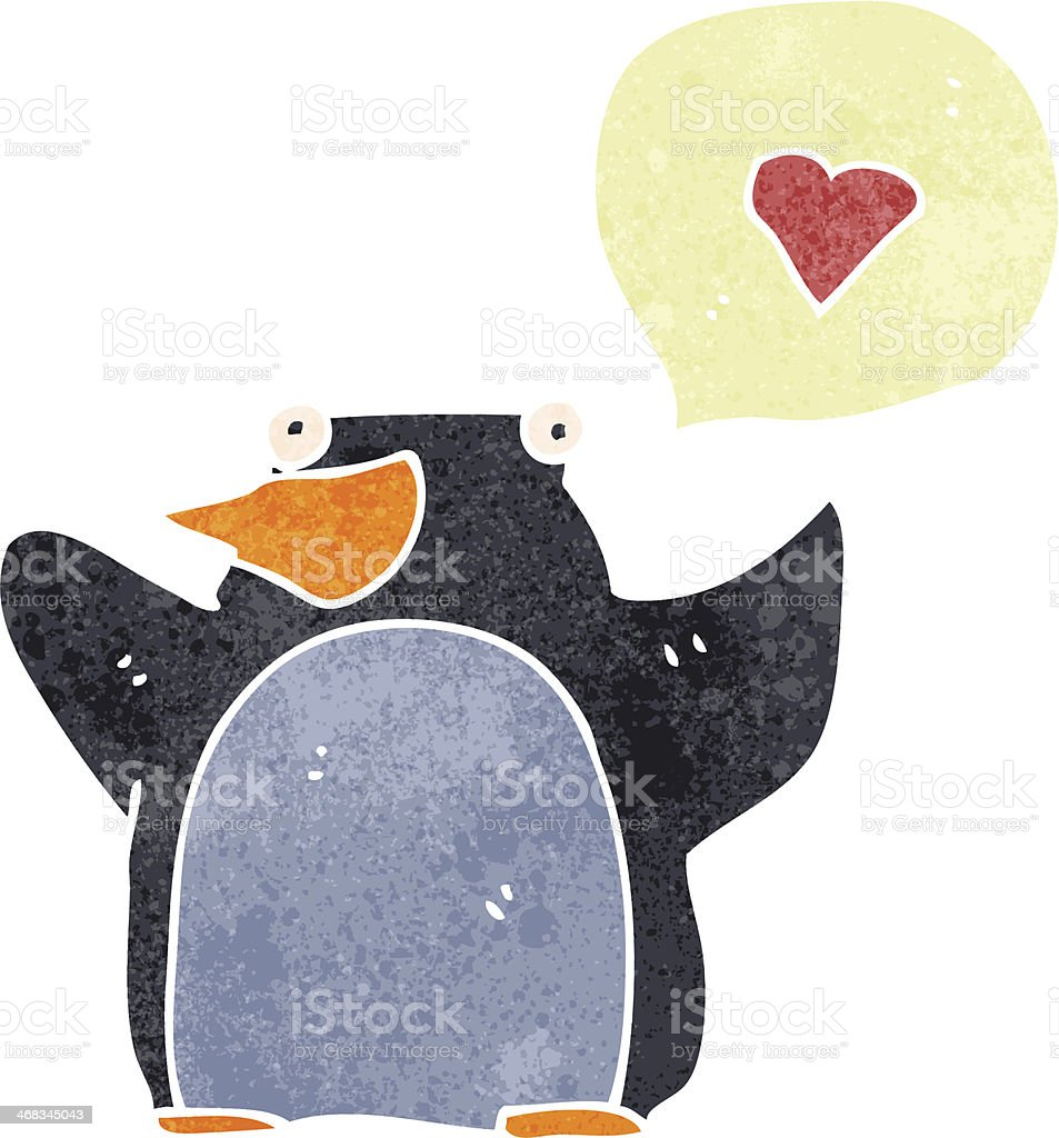 retro cartoon penguin in love royalty-free retro cartoon penguin in love stock vector art & more images of bizarre