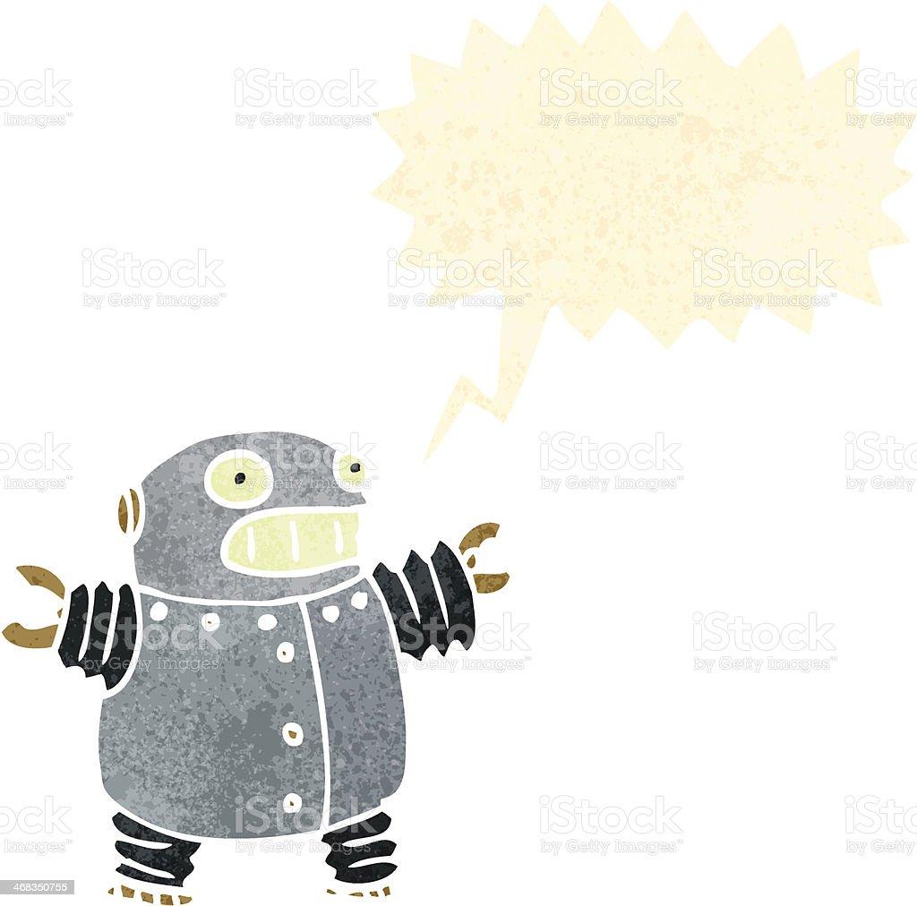 retro cartoon robot with speech bubble royalty-free retro cartoon robot with speech bubble stock vector art & more images of bizarre