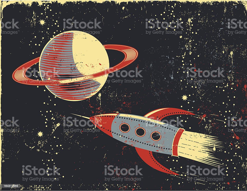 Retro cartoon Saturn and Rocket