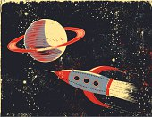 Retro cartoon Saturn and Rocket